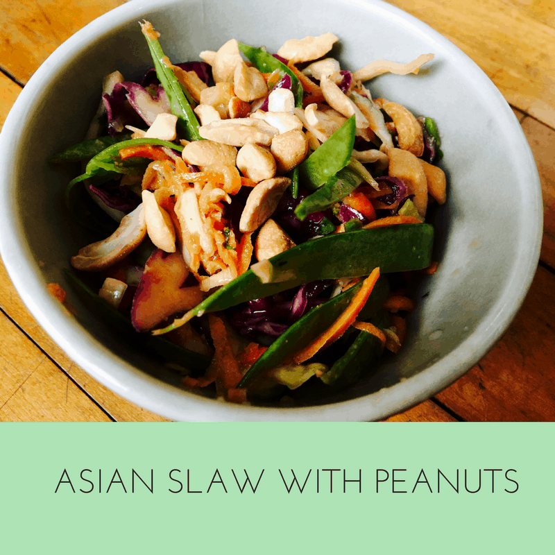 This is a delicious way to get your veggies--cabbage, carrots, peanuts, snow peas--YUM! Healthy too!